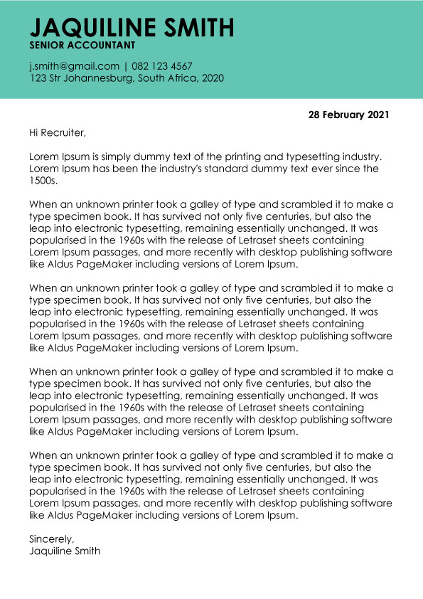Cover Letter Template 003