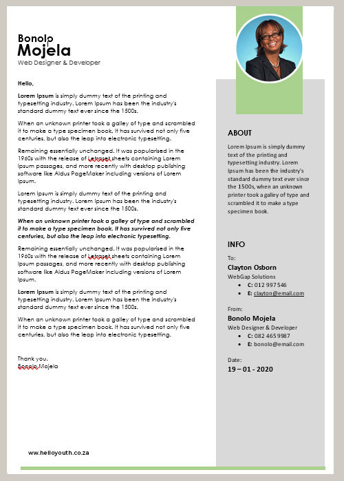 Cover Letter Template 001