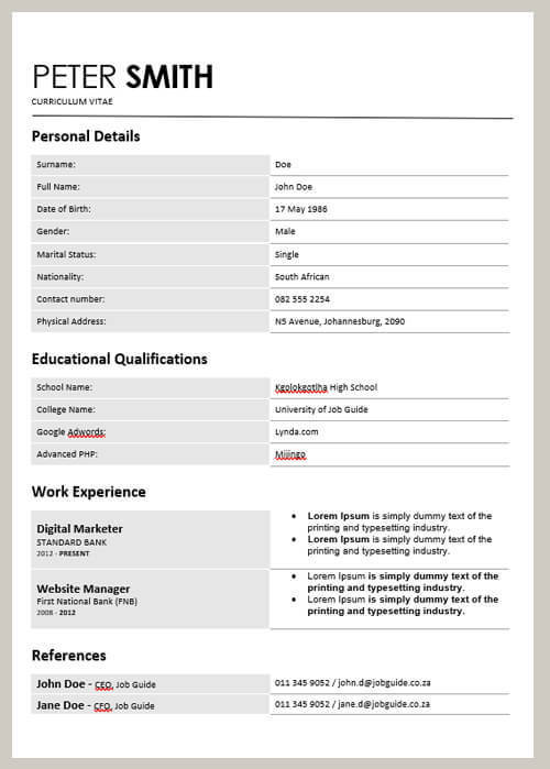 CV Sample 003